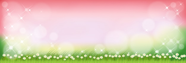 Vector summer nature with cute tiny daisy flowers and green grass fields.
