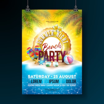 Vector summer night beach party flyer design with tropical palm leaves and float
