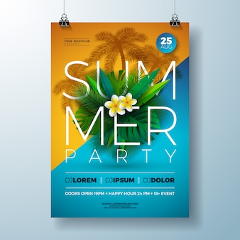 Vector summer party flyer design with flower and tropical palm leaves