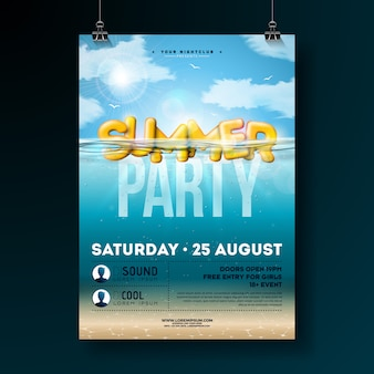 Vector summer party flyer design with underwater blue ocean