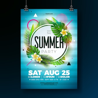 Vector summer party flyer design