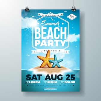 Vector summer party flyer or poster template design with starfish and tropical island