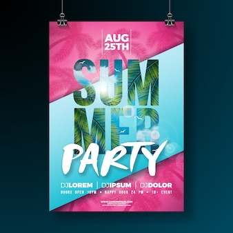 Vector summer party flyer or poster template design with tropical palm leaves