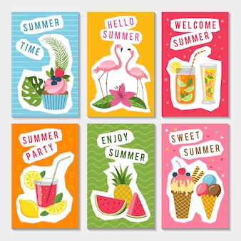 Vector summer party labels set with different tropical illustrations