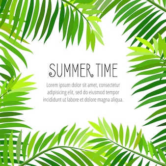 Vector summer party poster with palm leaf