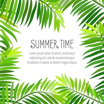 Вектор летняя вечеринка плакат с пальмовых листьев