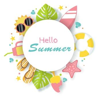 Vector of summer poster banner summer travel