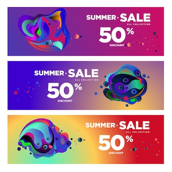 Vector summer sale 50% discount fluid colorful banner