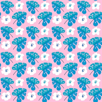 Vector summer seamless pattern with flat flowers and tropical leaves.