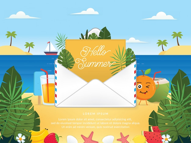 Vector of summer season with email