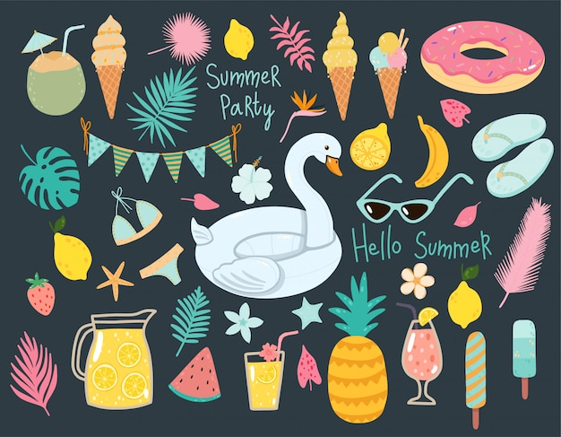 Vector summer set with pool floats, cocktails, tropical fruits, ice creams, palm leaves.