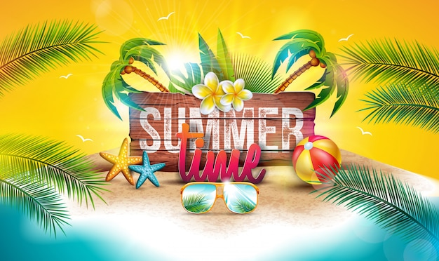 Vector summer time holiday illustration with wood board and palm trees