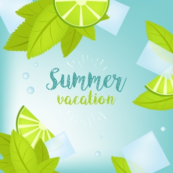 Vector summer time holiday typographic illustration. tropical plants, palm tree, fruits, flowers. lime and ice cubes. mojito. eps 10 design.