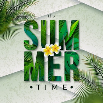 Vector summer time illustration with typography letter and tropical palm leaves
