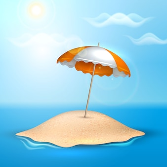 Vector summer vacation realistic 3d poster