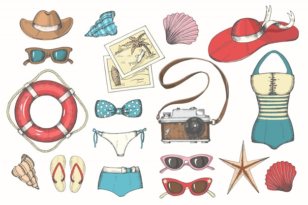 Vector summer vintage set with hand drawn color men's and women's summer accessories