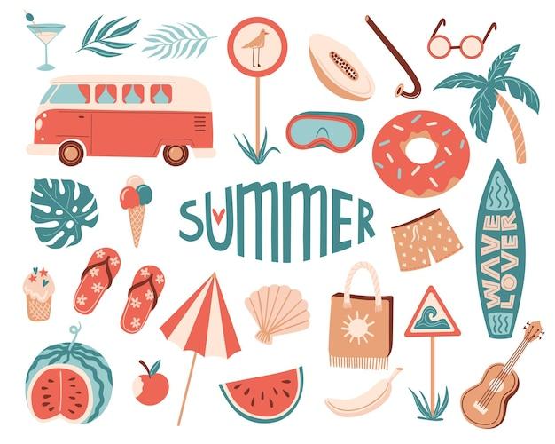 Векторный летний набор с летними предметами: зонтик, маска для подводного плавания и трубка, дорожный автомобиль, доска для серфинга, тапочки, мороженое, гавайская гитара, экзотические фрукты. каракули иллюстрации шаржа