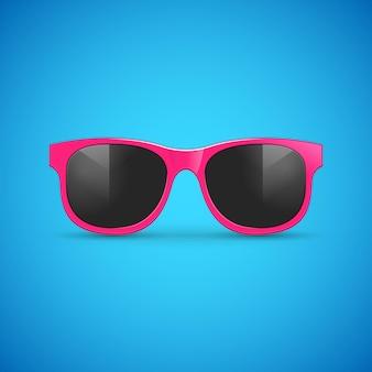 Vector sunglasses on blue.