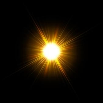 ベクトル太陽光特殊レンズフレアライト効果。太陽が孤立しました。グローライト効果。