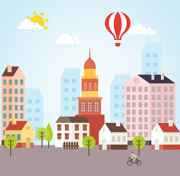 Vector sunny town landscape