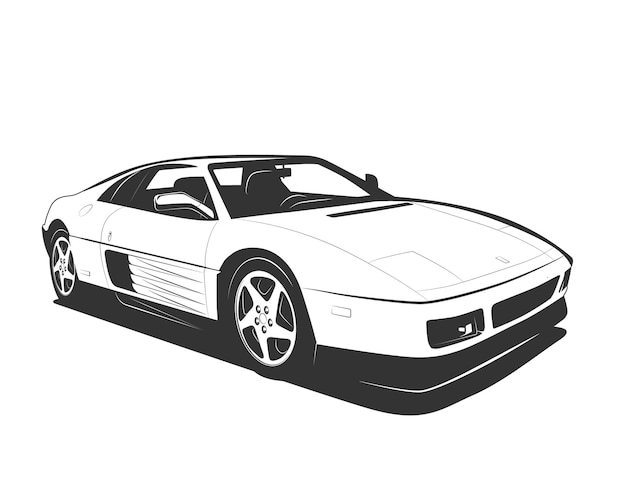 Векторный суперкар черный белый плоский дизайн. символ современного спортивного автомобиля для логотипа или печати