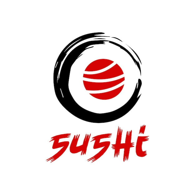 Vector sushi logo combination japanese food and roll symbol or icon unique seafood logotype design