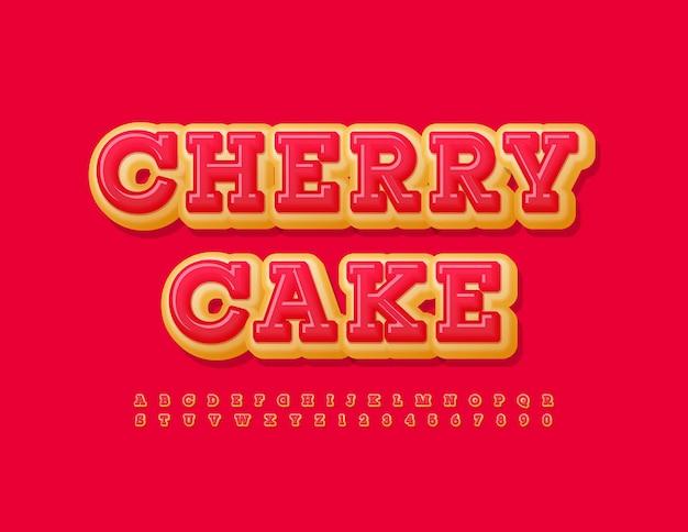 ベクトル甘いサインチェリーケーキおいしい明るいフォントピンクの艶をかけられたドーナツアルファベット文字と数字のセット