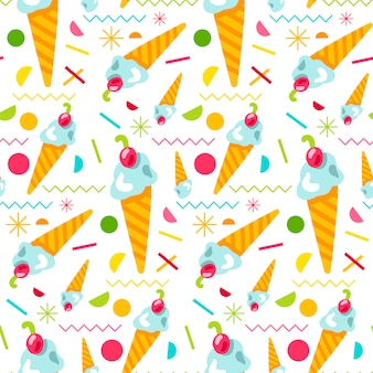 Vector sweet tasty ice cream seamless pattern