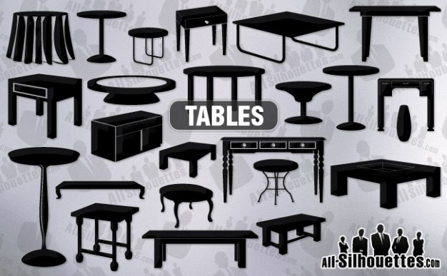 Vector tables clipart   all silhouettes