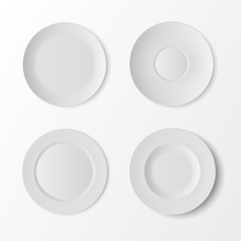 Vector tableware set of white empty plates