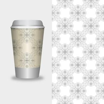 ベクターテイクアウトコーヒーパッケージテンプレートとコーヒーショップのデザイン要素