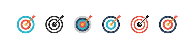 Vector target collection. target vector icons, isolated. targets different design. color target. vector illustration