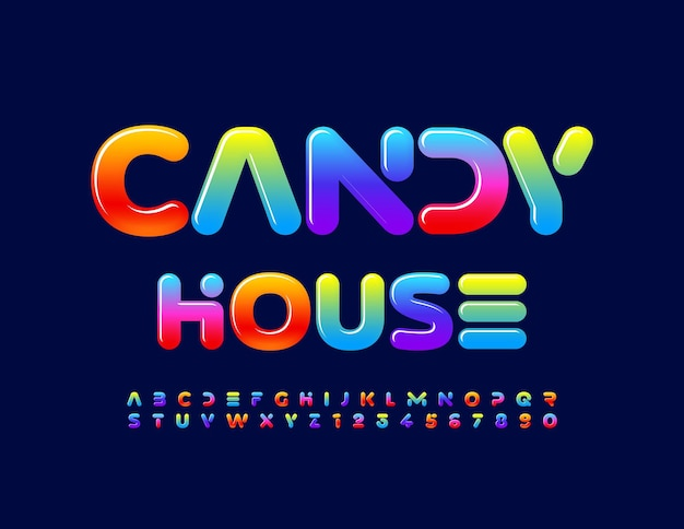 Vector tasty emblem candy house glossy gradient alphabet letters and numbers colorful font
