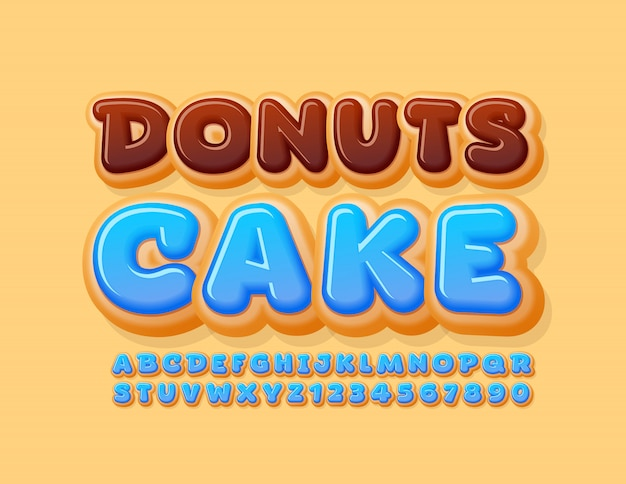 Vector tasty logo donuts cake with blue glazed alphabet letters and numbers. sweet delicious font