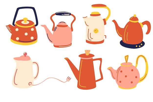 Векторная коллекция чая старинной посуды элементы кухни векторный набор старинных чайников