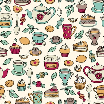 Vector tea seamless pattern