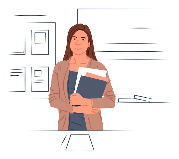 Vector teacher in shadow of sharp lines style