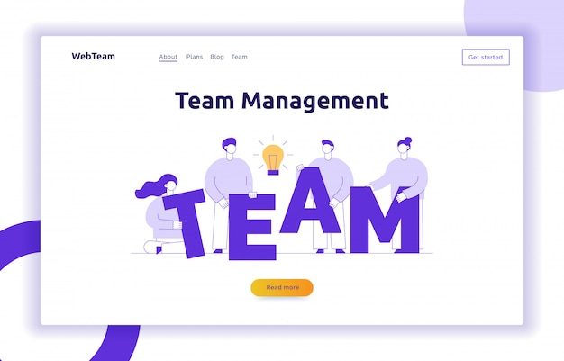 Vector teamwork and business strategy web page banner