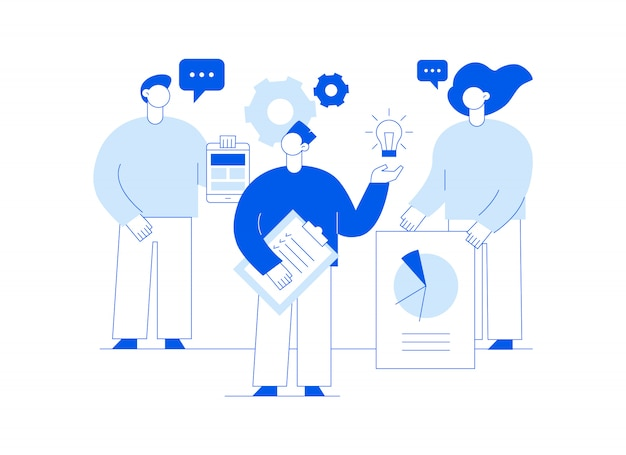 Vector teamwork and business strategy web page