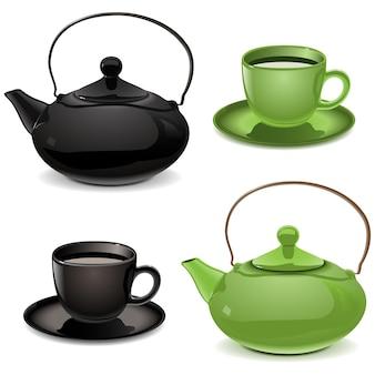 Вектор чайник и чашка, изолированные на белом фоне