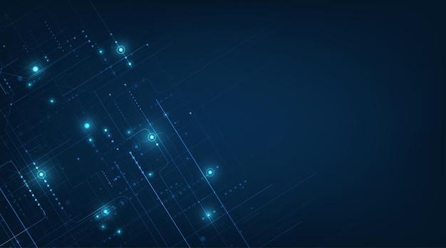 진한 파란색 배경에 벡터 기술 설계