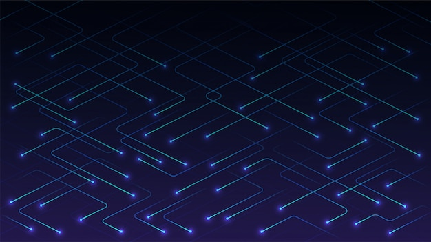 Vector technology lines with glowing particles on blue