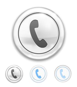 Icona del telefono di vettore sul pulsante su bianco
