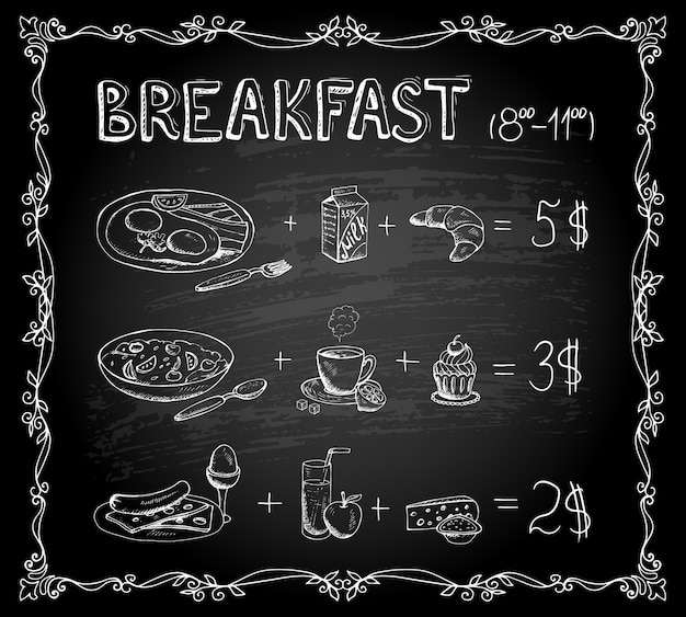 Vector template breakfast chalkboard menu vintage poster