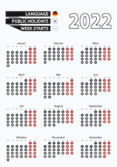 Векторный шаблон календаря 2022 года с числами в кругах, простой немецкий календарь на 2022 год.