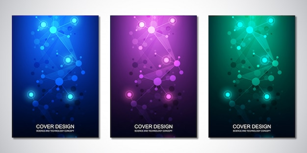 Vector template for cover or brochure, with molecules background and neural network