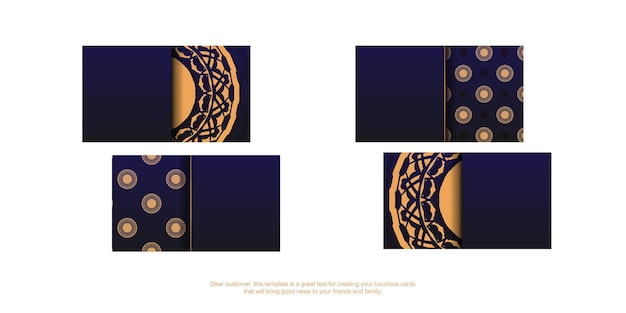 Vector template for design business cards in blue color with luxury patterns. preparing a business card with a place for your text and vintage ornaments.