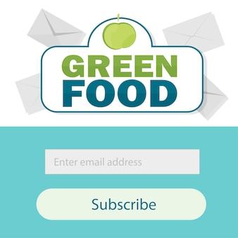 벡터 템플릿 이메일 구독. 웹사이트 이메일 편지 배너 양식 제출 - 건강 식품 - 녹색 식품 로고 벡터 템플릿