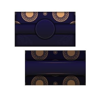 고급 패턴이 있는 파란색의 디자인 명함용 벡터 템플릿입니다. 텍스트와 빈티지 장식품을 위한 장소가 있는 명함을 준비합니다.