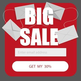 이메일 구독 양식에 대한 벡터 템플릿은 흰색 배경에 빨간색으로 표시됩니다. 큰 할인 할인